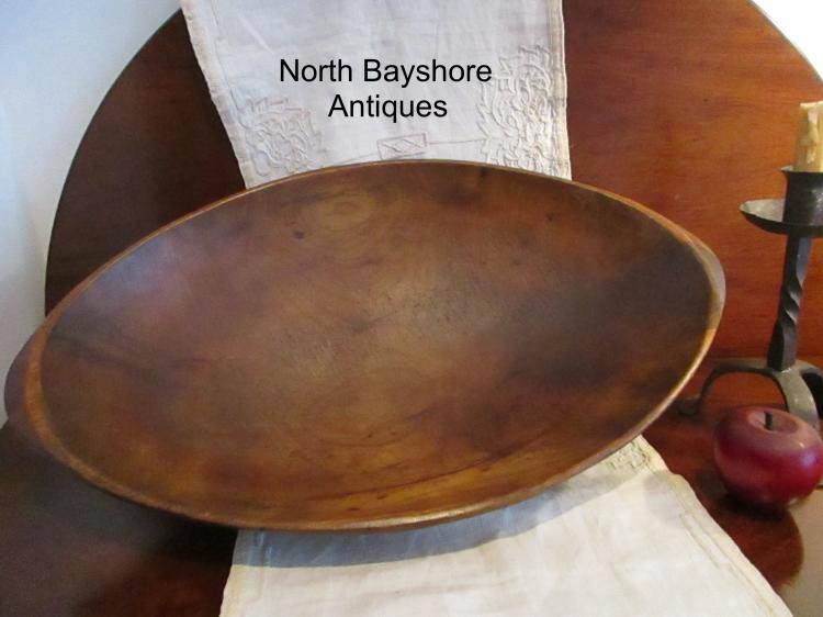 New England Colonial Large Birch Wooden Trencher Chopper Bowl 1700s