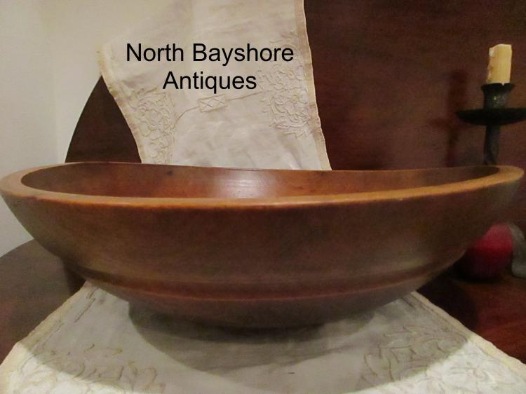 New England Hand Turned Black Ash Dough Bowl Wide Incised Collar 1800s