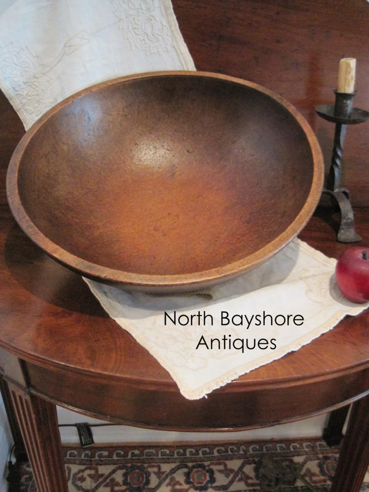 New England Maple Hand Turned Collared Dough Bowl 1820s