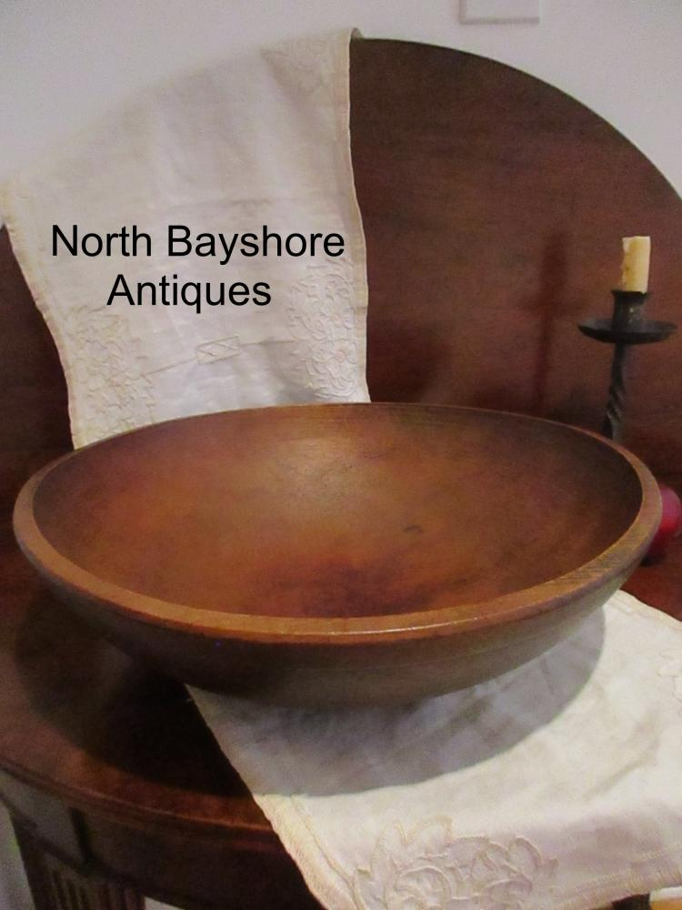 New England Hand Turned Black Ash Wooden Dough Bowl 1800s