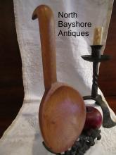 New England Primitive Curly Maple Butter Paddle Bird Head Hook 1800s