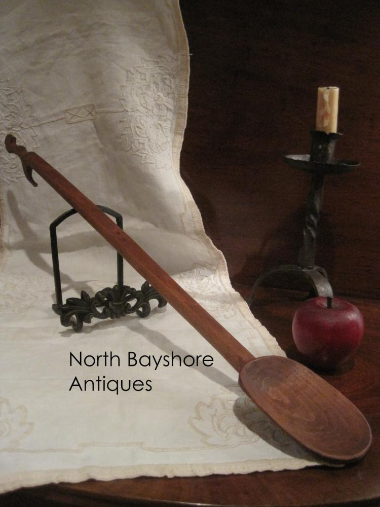 New England Native American Cherry Effigy Spoon Ladle 1800s
