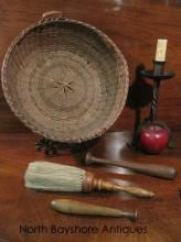 Shaker Chore Boys Horse Hair Brush and Basket 1800s