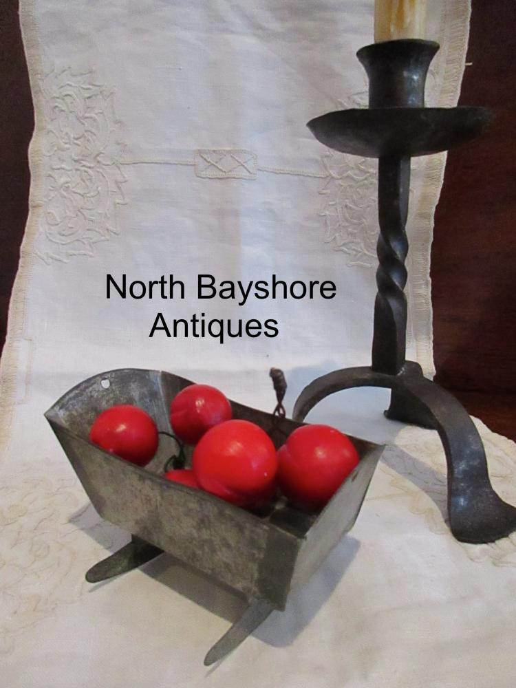 New England Folk Art Miniature Tin Doll House Cradle 1800s