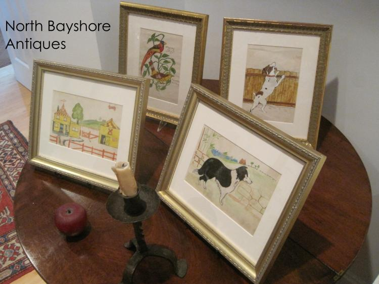 Pennsylvania Folk Art Drawings in Gilded Frames Dated 1903
