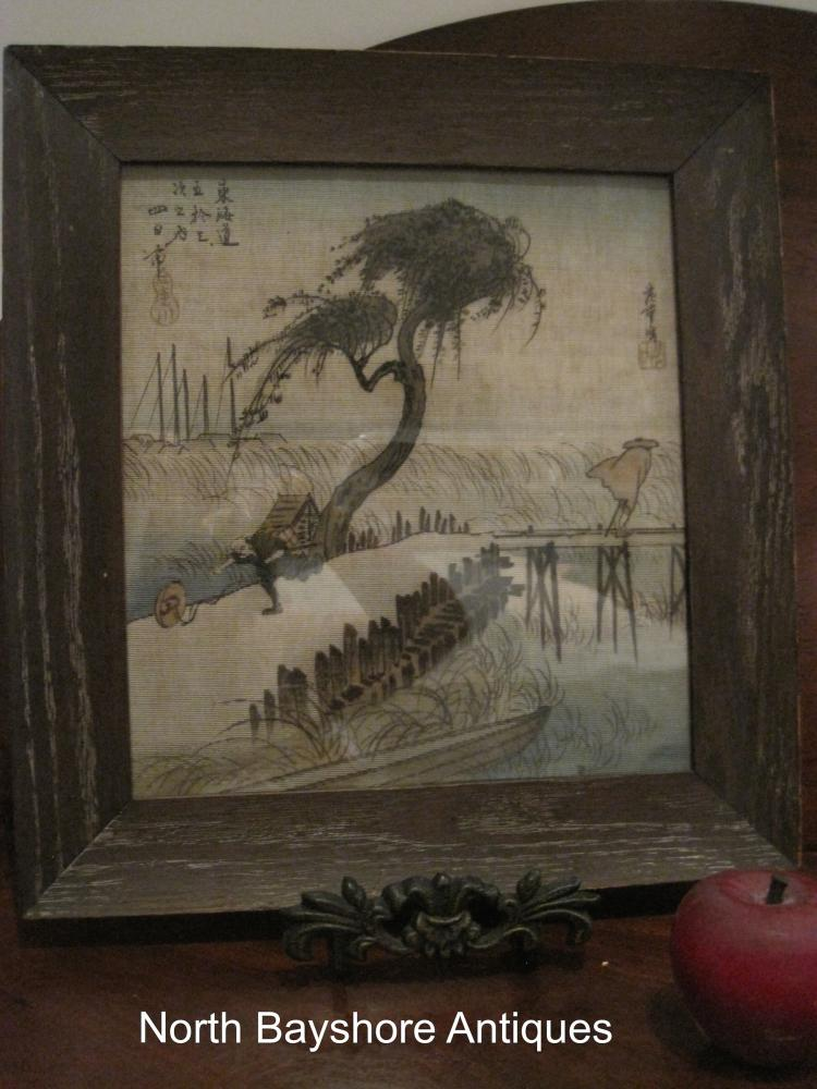 Japanese Framed and Signed Print on Silk 1800s