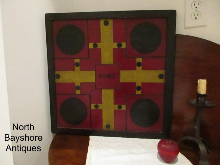 New England Parcheesi/Checkers Painted Gameboard 1800s