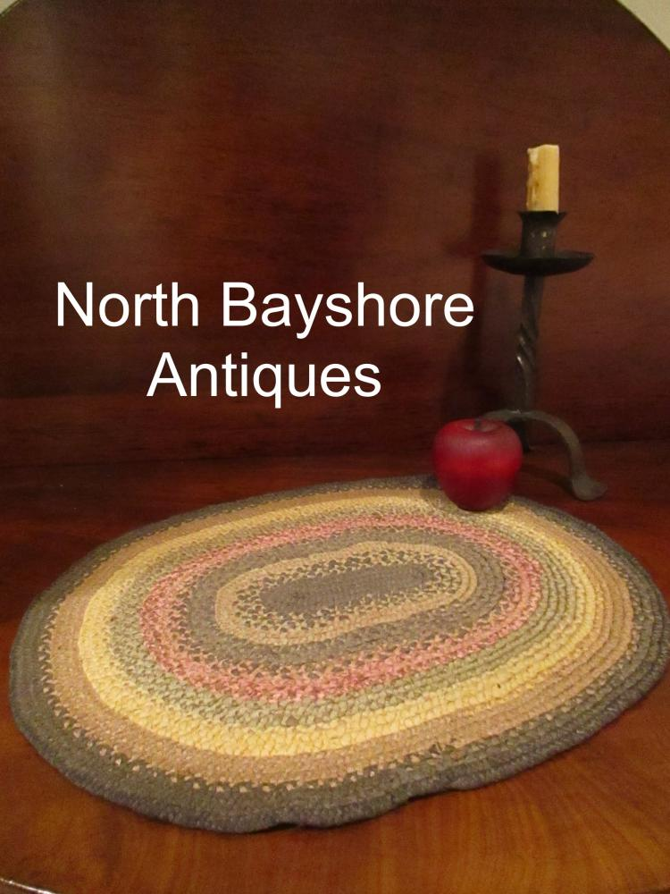 New England Shaker Miniature Braided Silk Oval Table Top Rug 1800s
