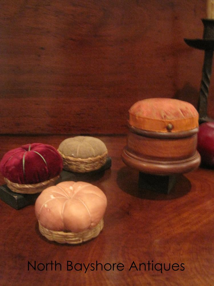 Collection of Shaker Pincushions and Thread Caddy 1800s