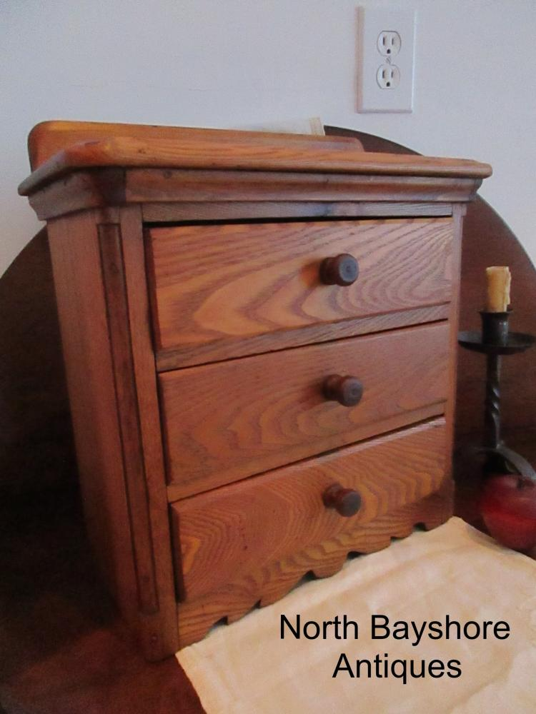Tiger Oak 3 Drawer Miniature Chest of Drawers Salesman Sample 1800s