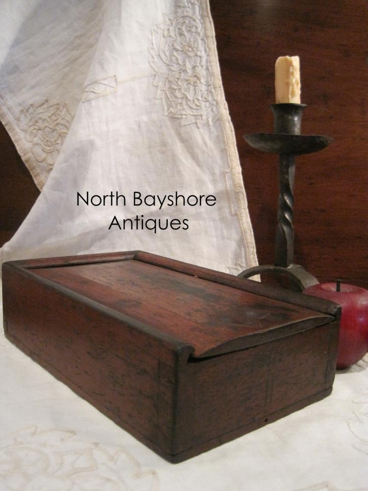 New England Colonial Slide Lid Apothecary or Spice Box 1700s