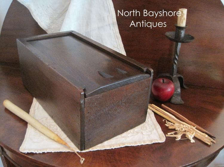 New England Colonial Large Walnut Slide Lid Candle Box 1700s