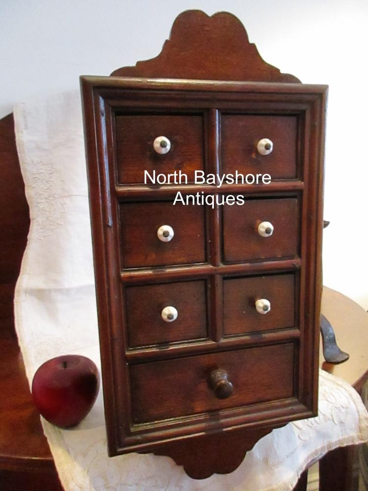 New England Hanging Spice Apothecary Walnut Chest Box 1800s