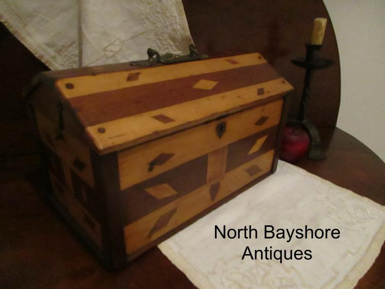 New England Folk Art Inlayed Wooden Decorated Chest or Box 1800s