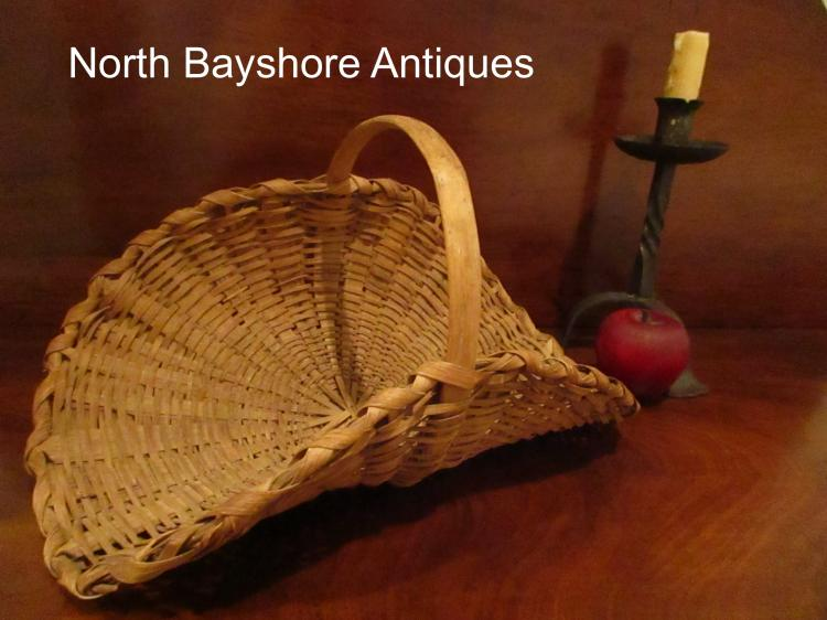 New England Black Ash Minature Woven Flower Gathering Basket 1800s