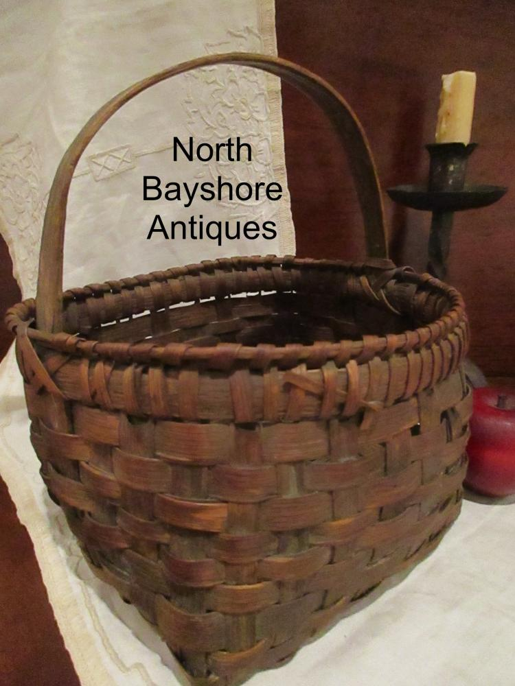 Black Ash Miniature Woven Square Bottom Herb Gathering Basket 1800s
