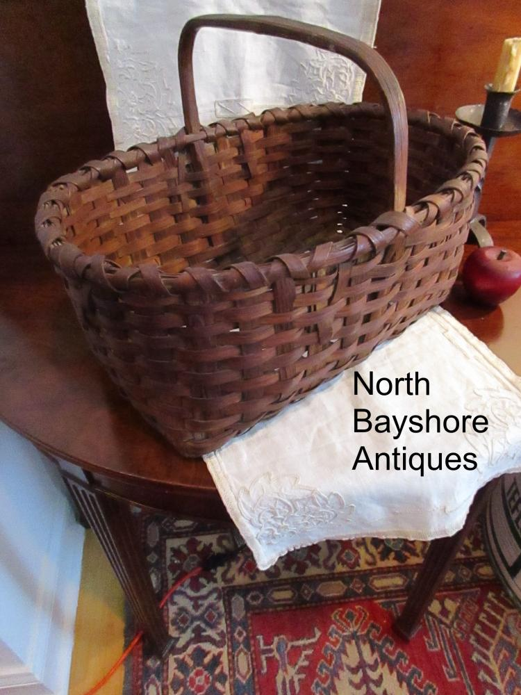New England Black Ash Painted Woven Gathering Basket 1800s