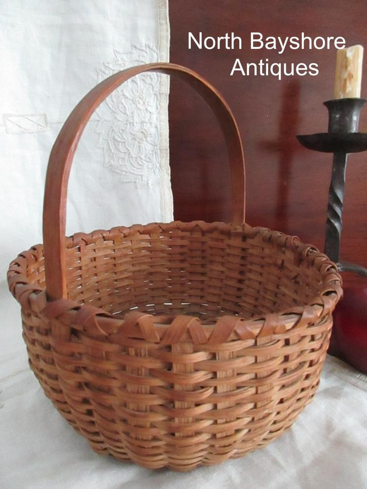 New England Miniature Black Ash Woven Splint Egg Gathering Basket 1800s