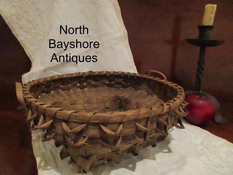 New England Native American Black Ash Woven Splint Basket 1800s