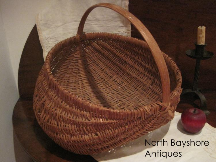 Appalachian White Oak Rod Splint Woven Basket 1800s