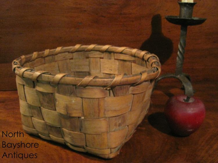 New England Native American Potato Stamped Basket 1800s