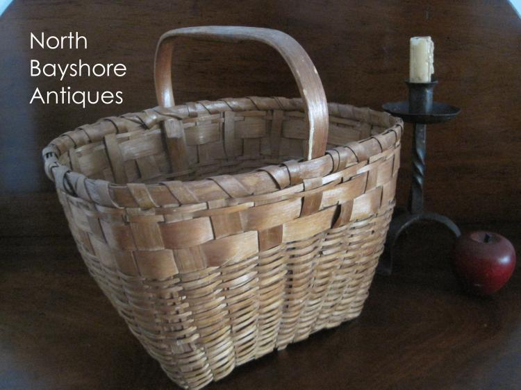New England Woven Ash Basket Carved Maker Initials 1800s
