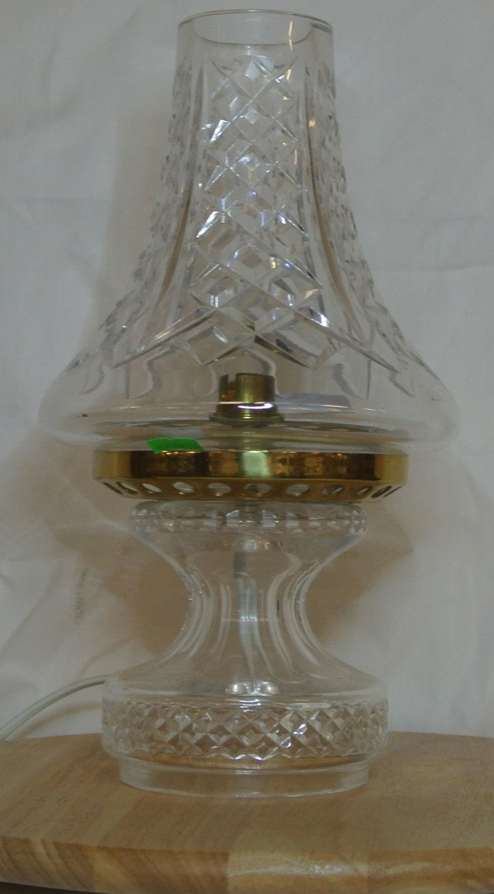 Lot 13: A Waterford Crystal Hurricane table lamp.