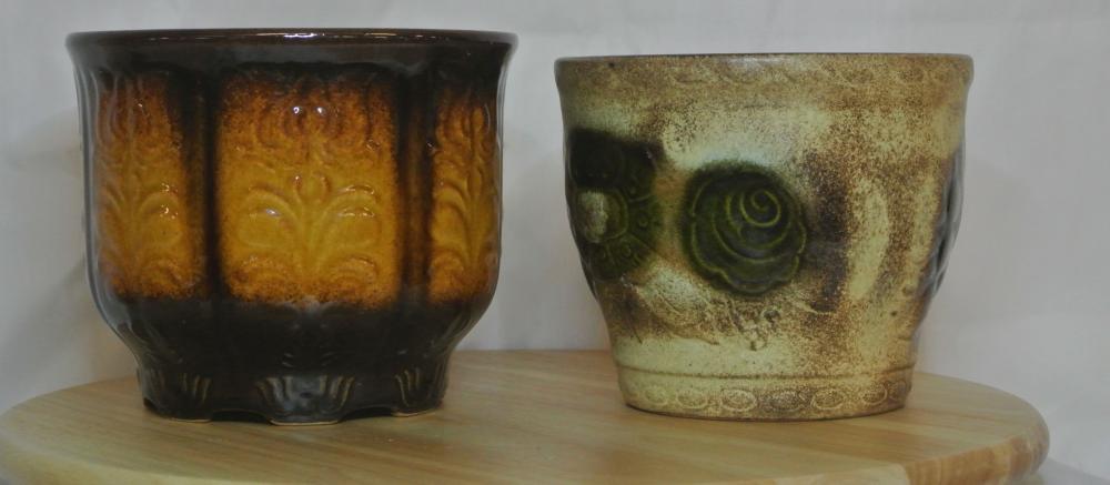 Lot 17: A collection of 2 vintage 'Fat Lava' plant pots.