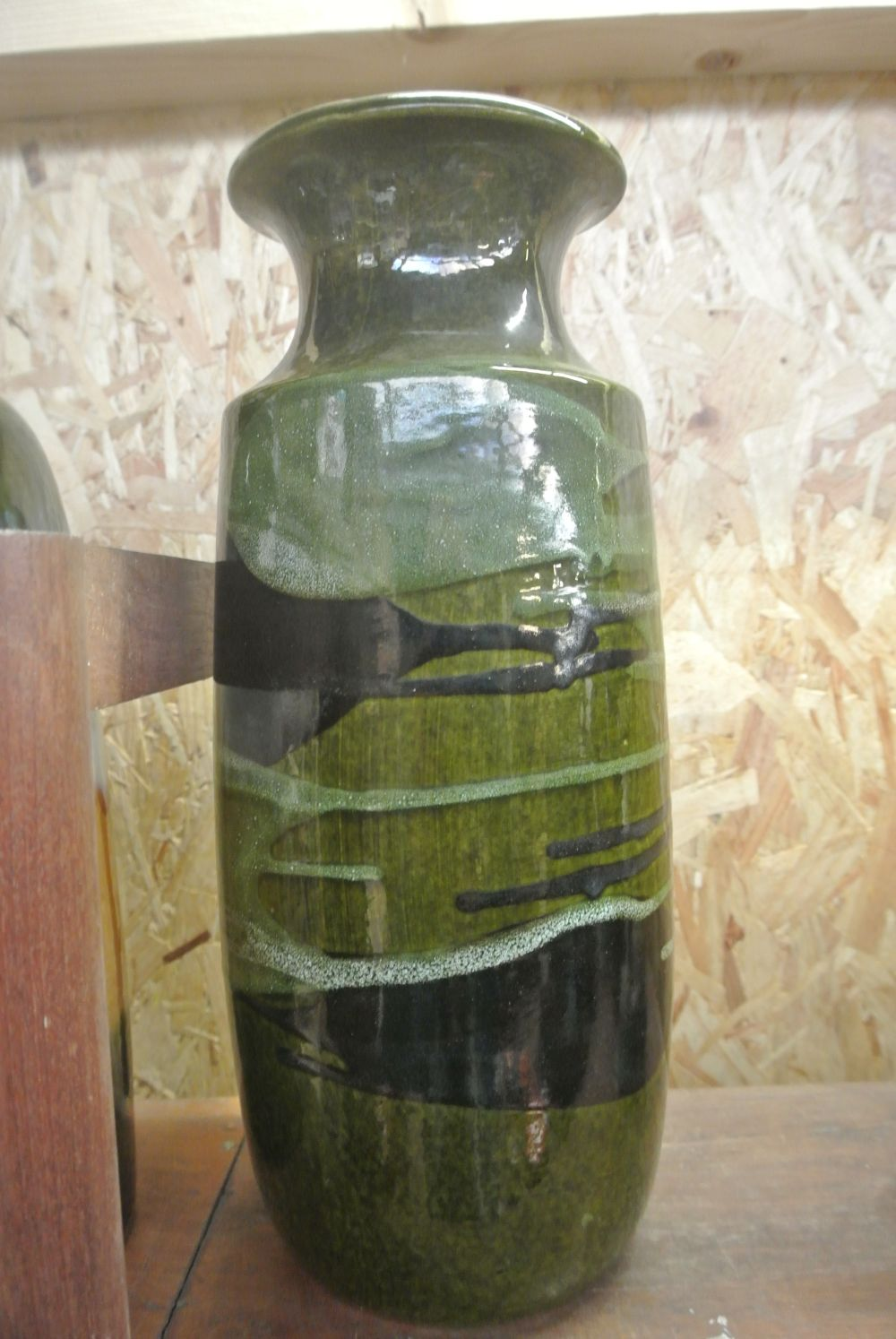 A large vintage/ Mid Century Western German 'Fat Lava' vase, in various green glazes