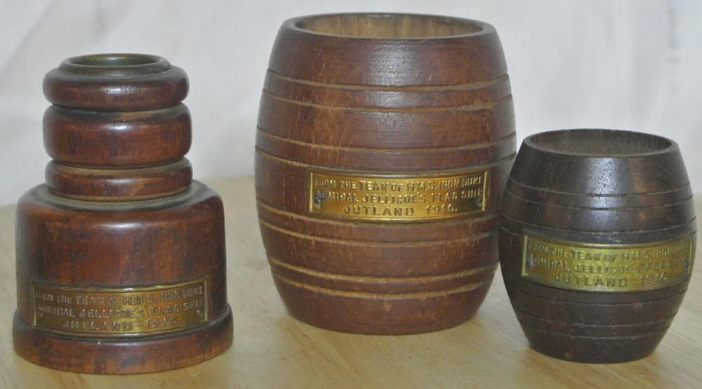 A collection of 3 pieces made from the teak of HMS Iron Duke