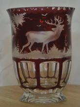 Lot 76: An antique/ Victorian Bohemian glass vase