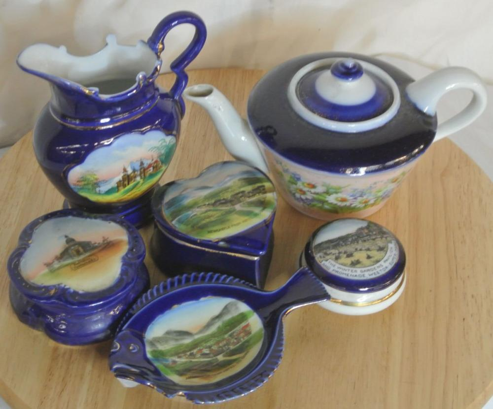 A collection of 6 antique pieces of souvenir ware items