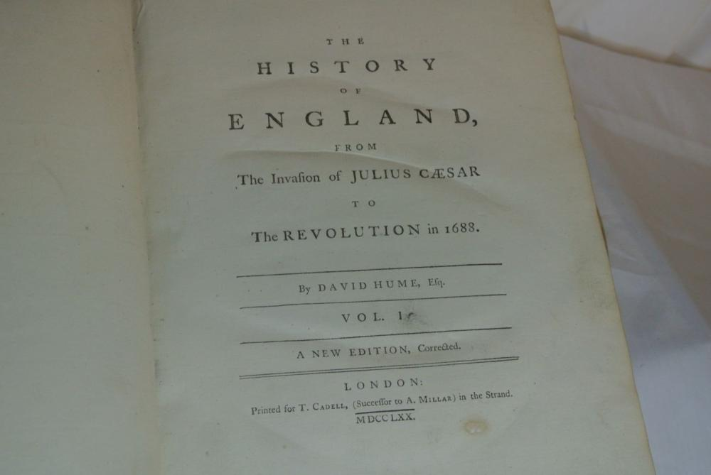 Lot 89: An antique set of Hume's History of England, volumes 1 & 2.