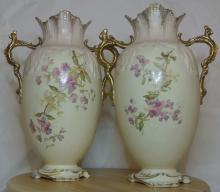 Lot 115: A stunning pair of Victorian hand painted floral vases