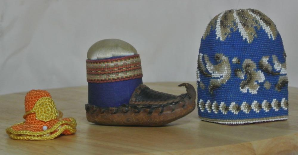 A collection of 3 antique beaded items