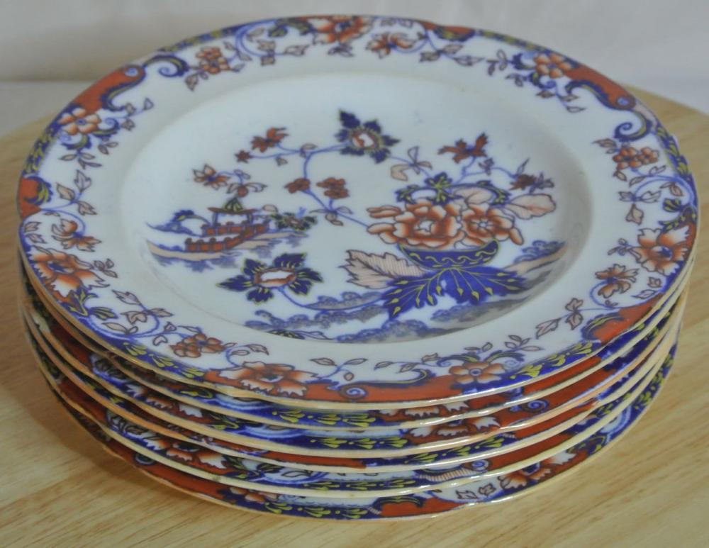Lot 128: A set of 6 antique Amherst Japan side plates.