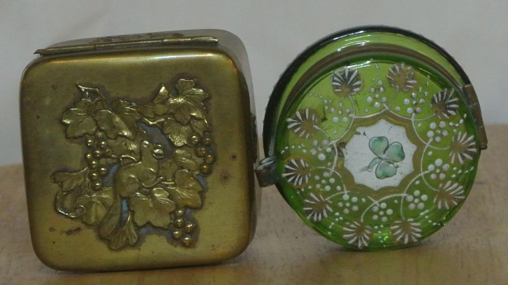 A collection of 2 antique trinket boxes