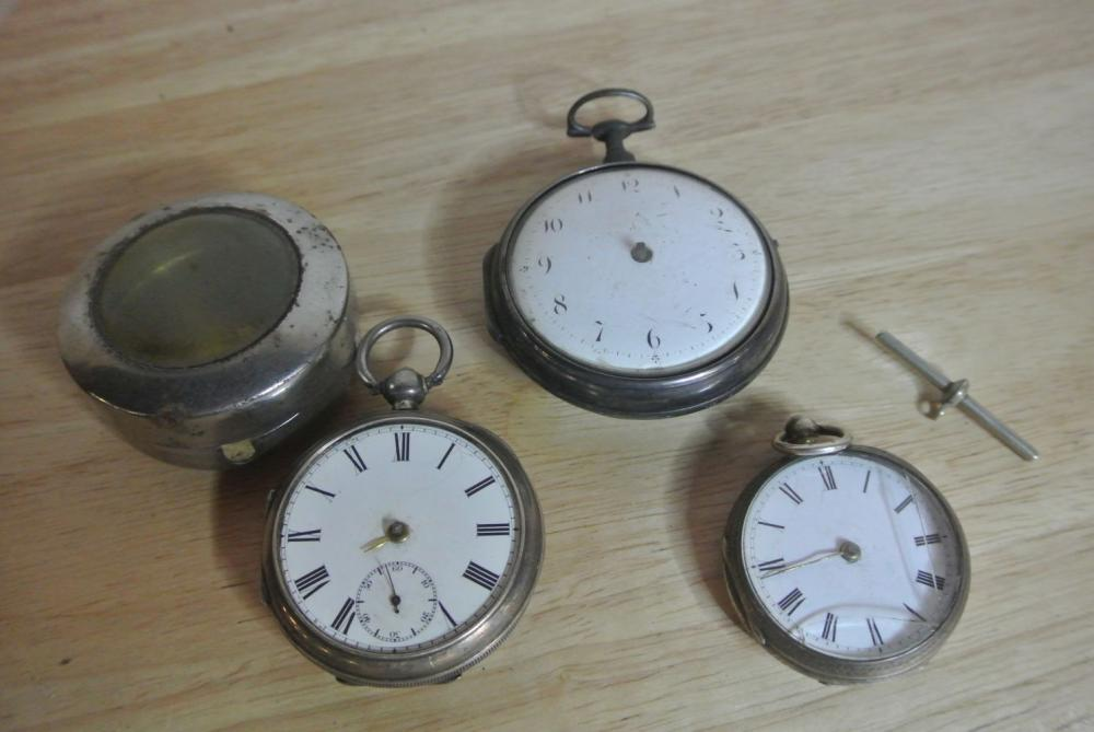 A collection of 3 antique pocket watches