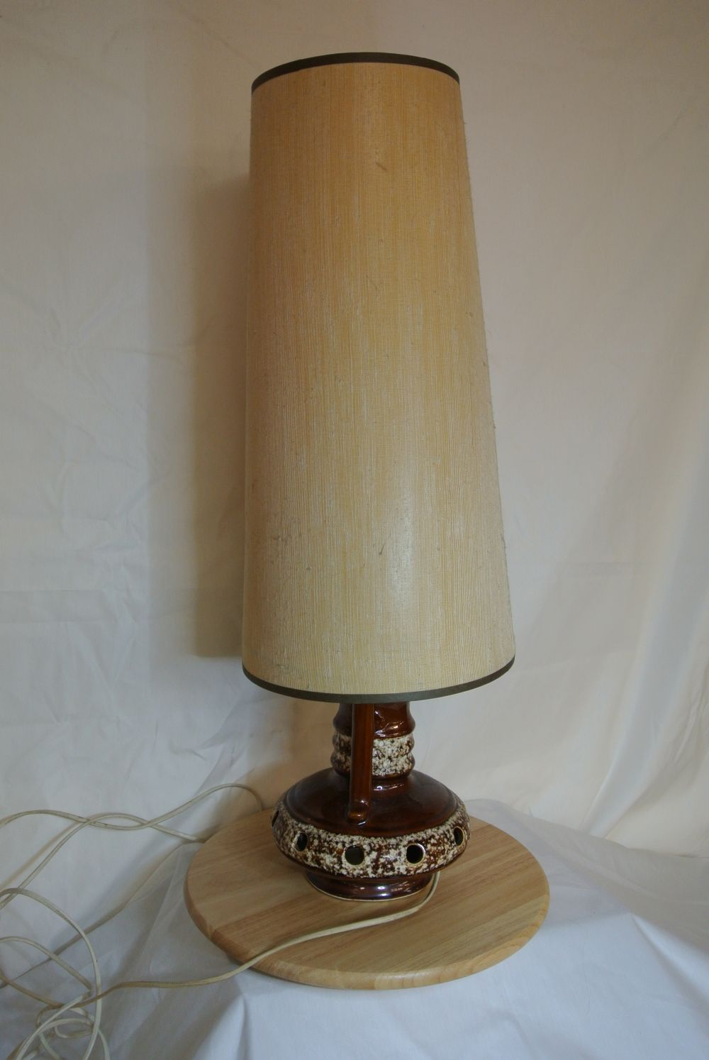 A vintage/ Mid Century 'Fat Lava' German ceramic table lamp with shade.