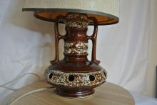 Lot 10: A vintage/ Mid Century 'Fat Lava' German ceramic table lamp with shade.