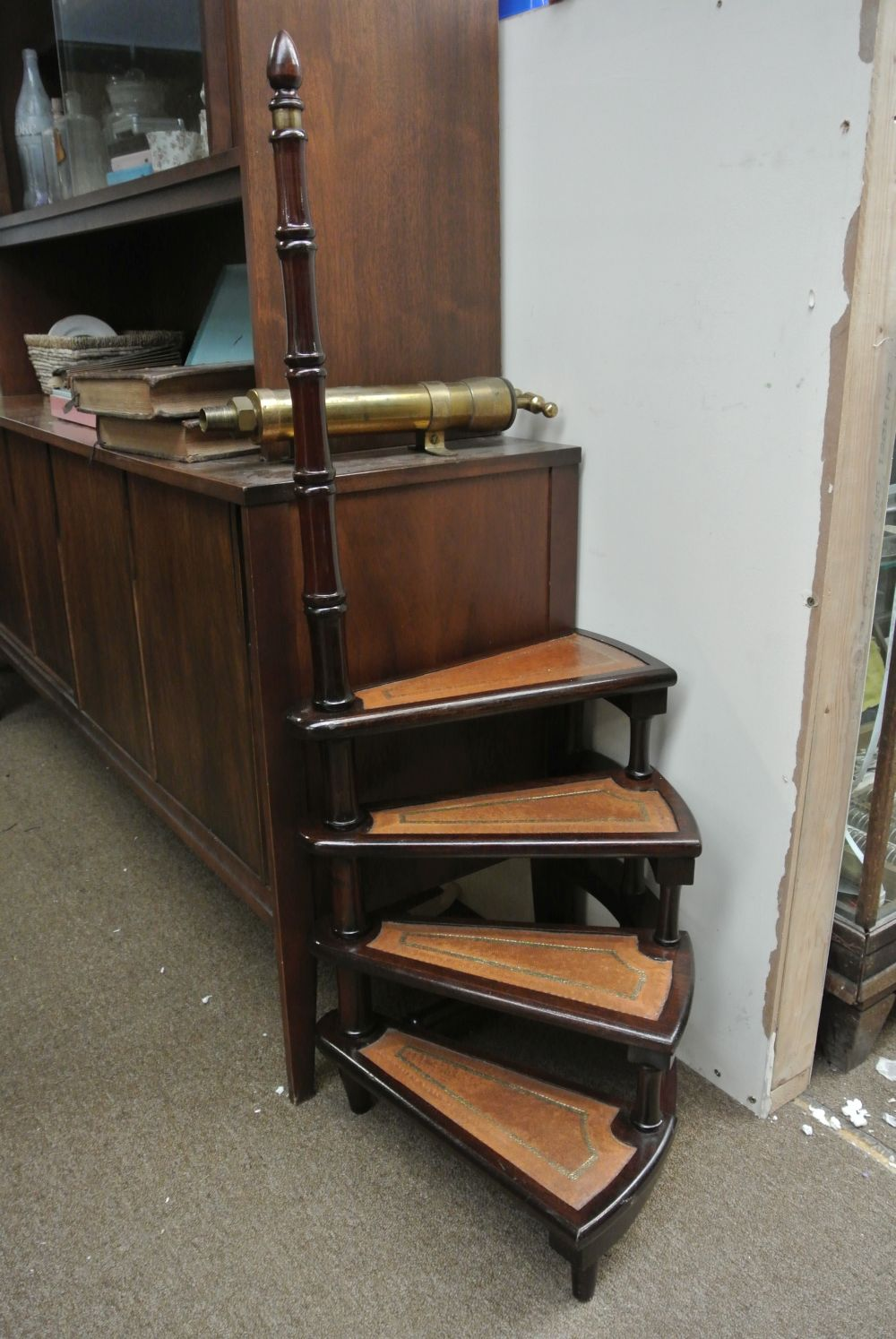 A set of antique style library steps.