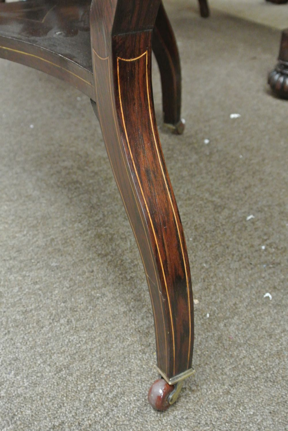 Lot 92: A stunning antique inlaid rosewood drop leaf occasional table