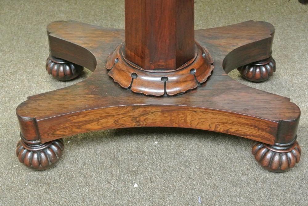 Lot 93: An antique Victorian turnover card table on hexagonal column base.