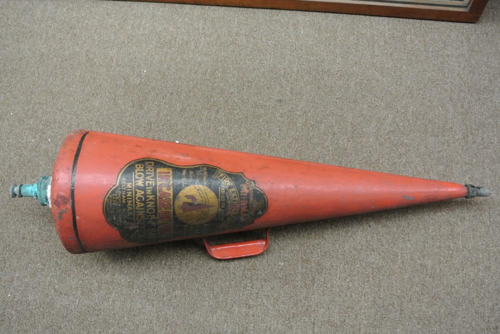 A vintage/ antique Minimax cone fire extinguisher.
