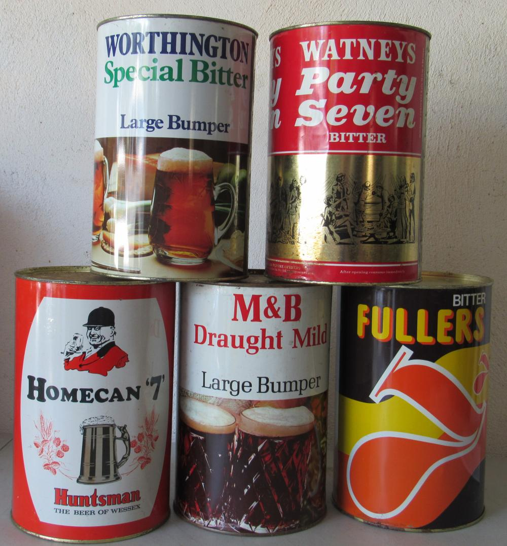 5 3.86 Liter English Party Beer Cans