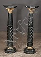 Pair of marble pedestals with swirl design columns and bronze Corinthian capitals, and octagonal shaped tops, 13
