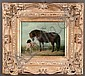 Oil painting on canvas, landscape scene with pony and dog, canvas size-8