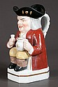 19th century unusual French Toby jug of a man with a pitcher and a glass, 10