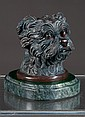Vienna bronze inkwell depicting head of a terrier dog with hinged head revealing inkwell, stamped