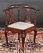 Queen Anne mahogany corner chair with carved eagle head arms, cabriole legs, shell carved knees and carved pad feet, c.1840, 29